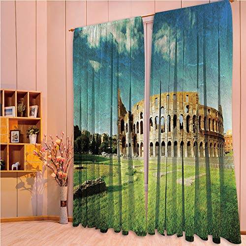 ZHICASSIESOPHIER Modern Style Room Darkening Blackout Window Treatment Curtain Valance for Kitchen/Living Room/Bedroom/Laundry,Colosseum in Rome Italian Landmark European 108Wx95L ()
