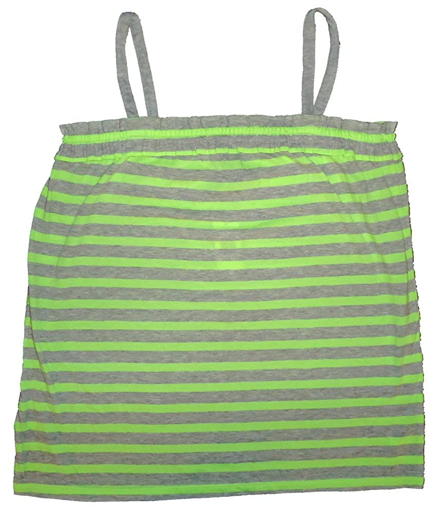 GAP Kids Girls Lime Green Gray Stripe Ruffle Cami Tank Top XXL 14-16