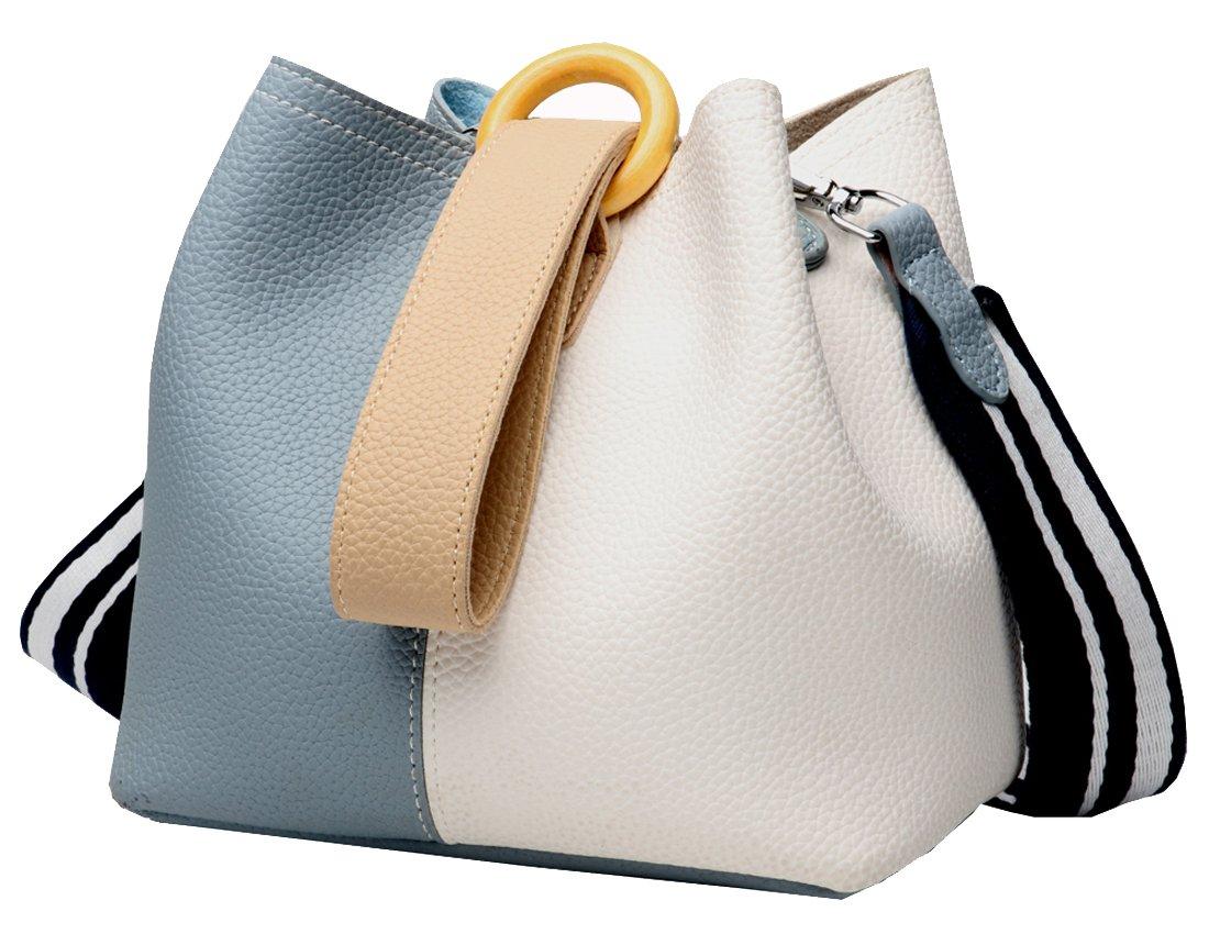 Heshe Womens Leather Bucket Bag Small Shoulder Handbag Satchel Purse Cross Body Bags Summer Style (Light Blue & Beige)