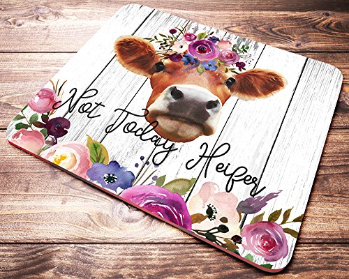 Cow Desk - Funny Heifer Quote Mouse Pad Not Today Heifer Pink Watercolor Floral Cow Mousepad Womens Desk Accessories Farmer Gifts