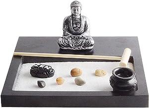 Magik Tabletop Mini Meditation Zen Garden w/Pavilion Statue Rock Venues Rake Sand Base (Model: #1 Black 6.49''x6.49'')