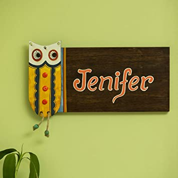 f43fe83b ExclusiveLane 'Owl Motif' Customizable Wooden Name Plate (Handwritten Fonts)  -Nameplate for