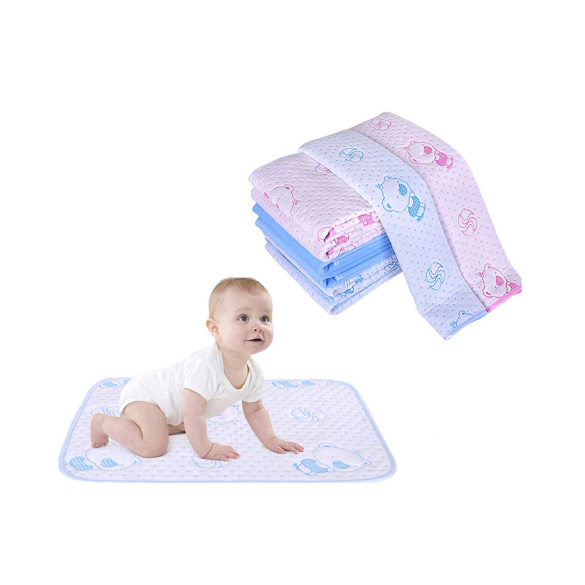 Blue Toddler Mattress Pad Reusable Cotton Bamboo Fiber Breathable Waterproof Baby Changing Mat Incontinence Bed Cover,19.7x27.6 Women Menstrual Period Leakproof Underpad Postpartum Protector Sheet