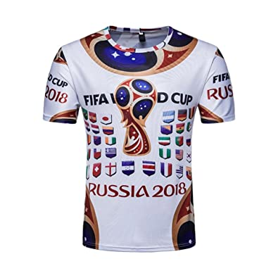 YouN Unisex 2018 FIFA World Cup Russia Soccer National Teams T-Shirt(White) 4cf7c61fe