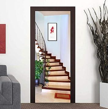 Pegatinas de Puerta Escalera Etiqueta de puerta 77x200cm PVC ...