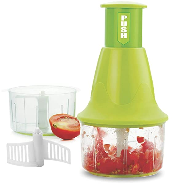 Supreme Mall 2 in 1 Plastic Quick Chef Vegetable and Fruit Cutter Chopper, Medium, Green Choppers