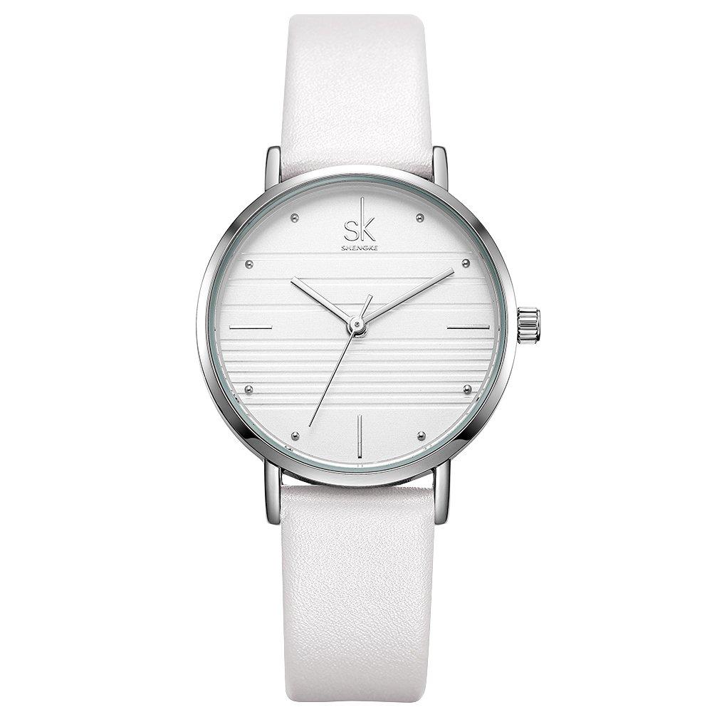 SK Women Watches Leather Band Luxury Quartz Watches Girls Ladies Wristwatch Relogio Feminino (K8007-White)