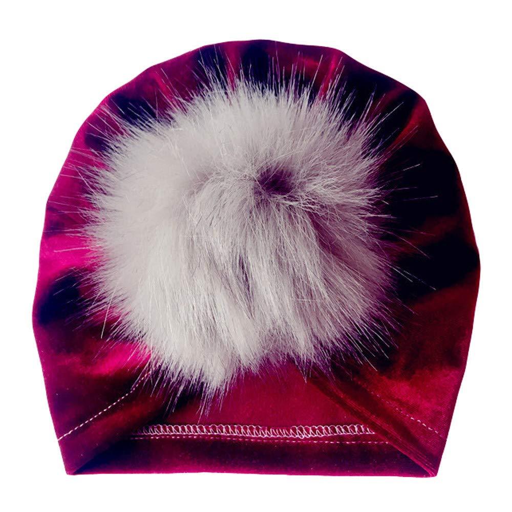 Kasien Kids Baby Hat, Newborn Toddler Kids Baby Boy Girl Venonat Turban Beanie Hat Headwear Hat (Wine)