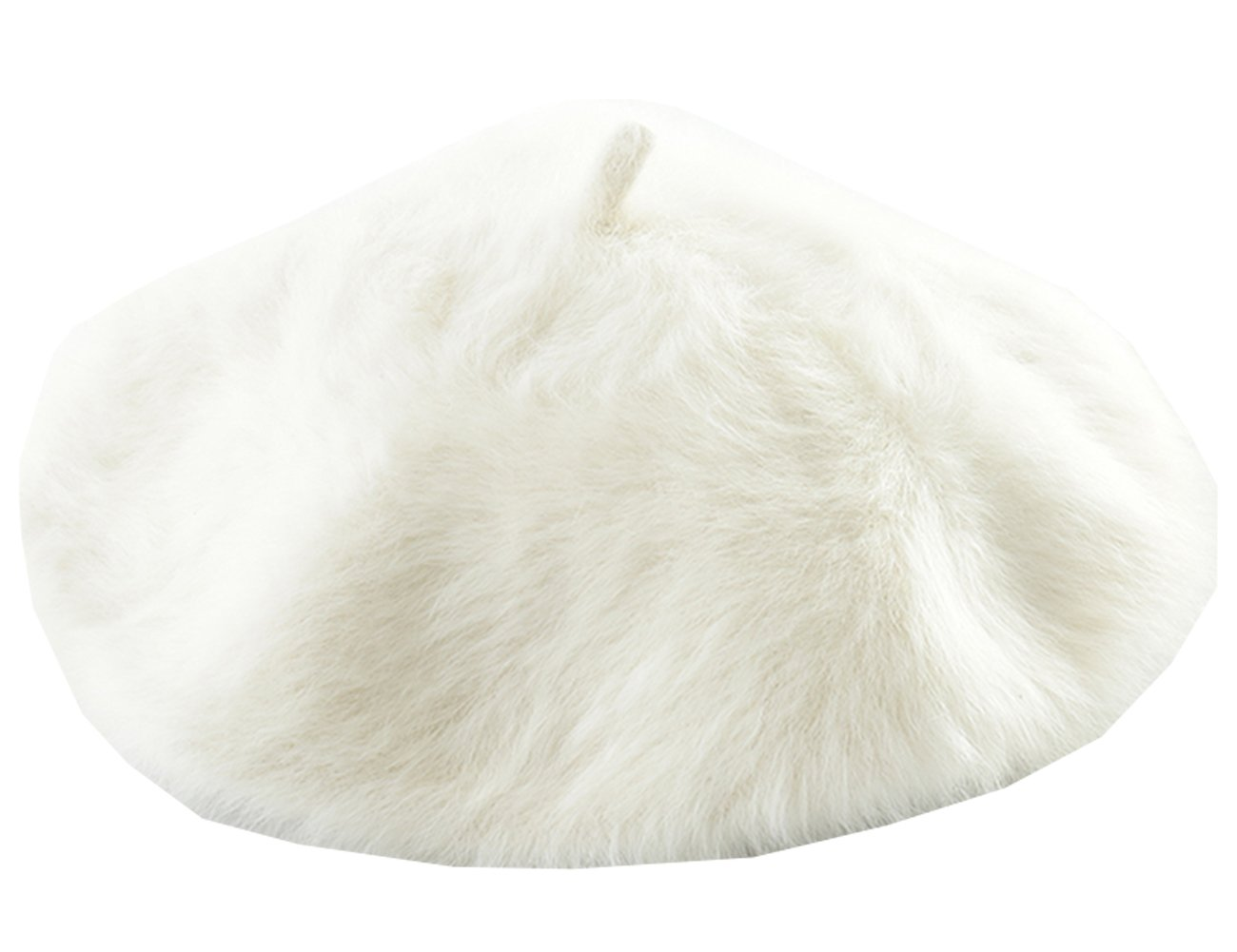 Joyhy Women's Solid Color Fluffy Warm Artist French Beret Hat White