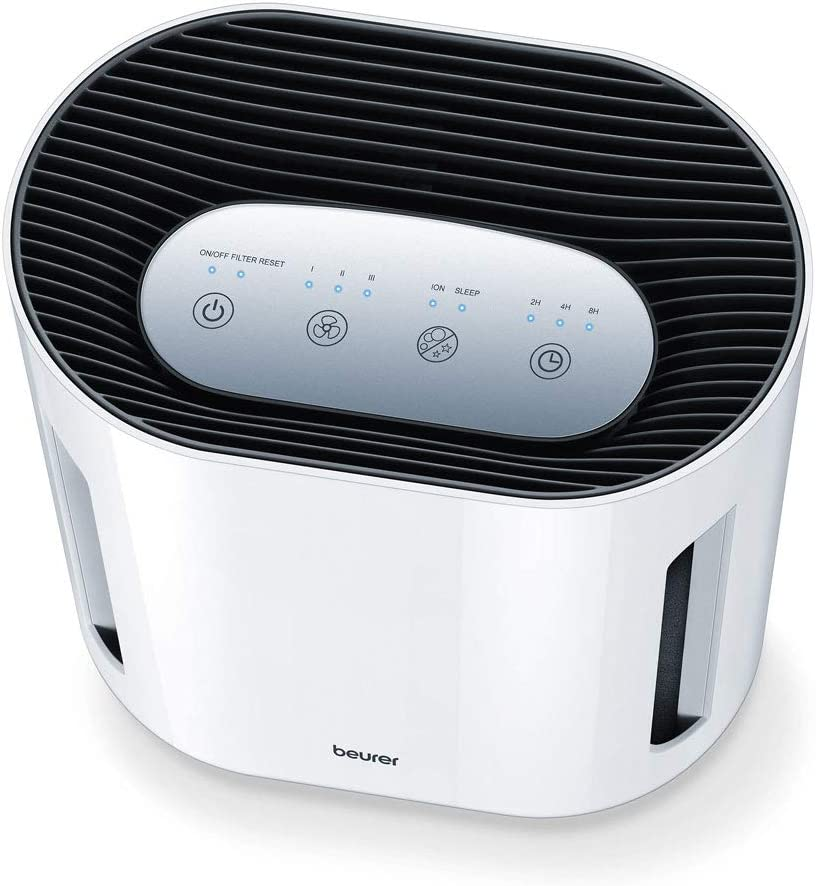 Beurer LR200 - Purificador de Aire, hasta 15 m2, ventilación, 3 niveles de filtración, función Ionic, display iluminado, temporizador, filtro hepa, 50 W, blanco ...