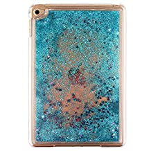 "7.9"" iPad Mini4 Case, MAOOY PC Plastic Rigid Liquid Sparkle Quicksand Cover for iPad Mini 4, Creative Design Flowing Floating Stras Dual-Layer Protective Bumper Shell - Blue"