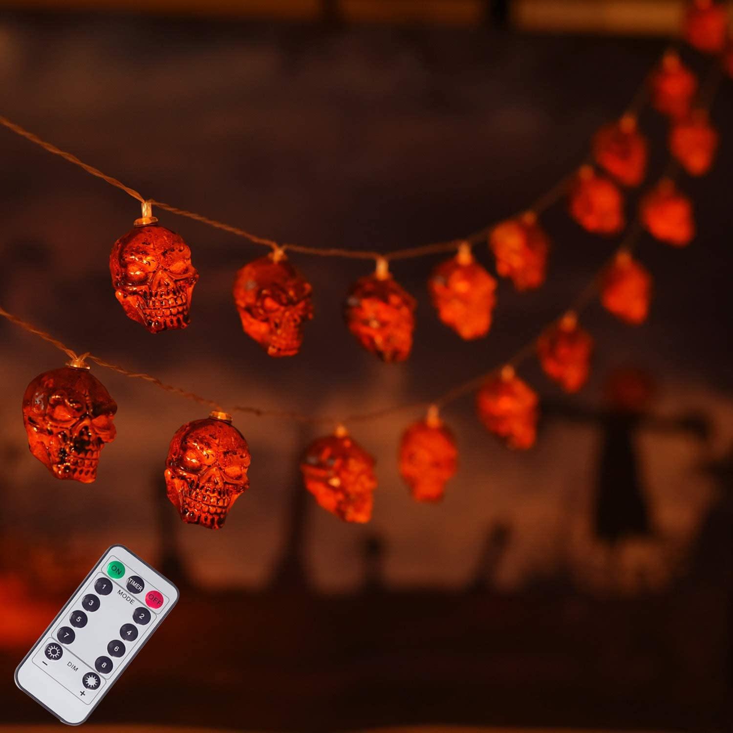 16.4ft 8 Modes Fairy Lights with Remote Waterproof Battery Operated Halloween Lights for Outdoor Indoor Party Bar Halloween Decoration 30 LED Halloween Skull String Lights