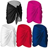 SIQUK 5 Pieces Swimsuit Wrap Sarong Short Chiffon Beach Sarong Swimsuit Wrap Skirt, 5 Colors