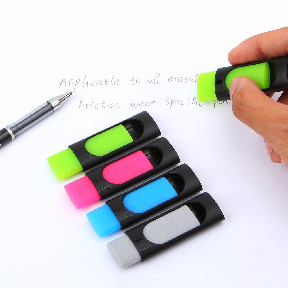 DDAYUP Friction Ink Eraser for Erasable Pen, Yellow green, Light blue,Grey (Set of 4 Color) by DDAYUP (Image #3)