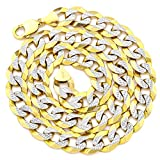 """LOVEBLING 10K Yellow Gold 14mm Solid Pave Two-Tone Curb Chain Necklace White Gold Pave Diamond Cut Lobster Lock (18"""" to 30"""")"""
