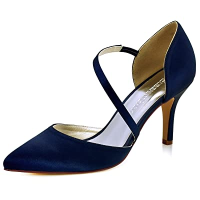 ElegantPark Women High Heel Strappy Dress Pumps Pointy Toe Satin Wedding Party Shoes | Pumps