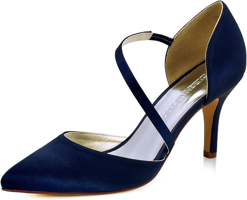 ElegantPark HC1711 Punta Estrecha de Las Mujeres Tacones de Aguja Zapatos de la Corte Correas Boda Fiesta de graduación Zapatos de Novia Azul Marino EU 39