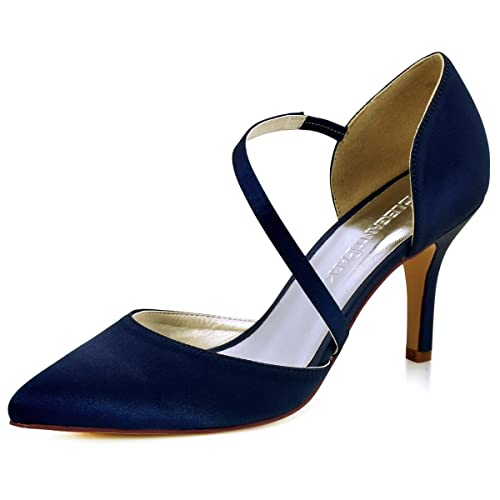 check out best online store ElegantPark Women High Heel Strappy Dress Pumps Pointy Toe Satin Wedding  Party Shoes