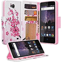 ZTE Majesty Pro Case, ZTE Tempo Case, Luxury PU Wrist Strap Leather Wallet Flip Protective Case Cover with Card Slots and Stand for ZTE Majesty Pro Z799VL / ZTE Tempo N9131 - (Cherry Blossomn)