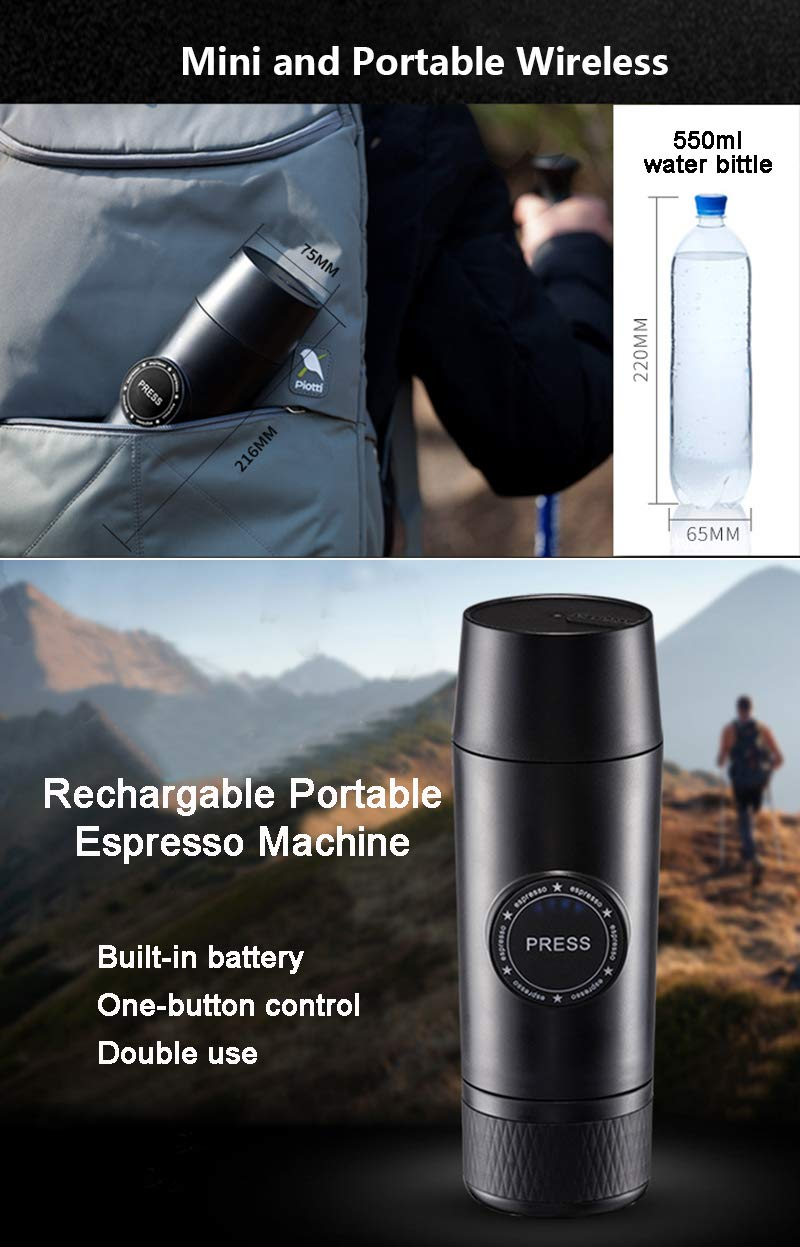 OMZBM Mini 2-in-1 Handheld All in One Espresso Coffee Maker with Hot Extraction Powder&Capsule,Wireless Portable Chargeable Electric Coffee Mechine for Outdoor Travel,Black by OMZBM (Image #8)
