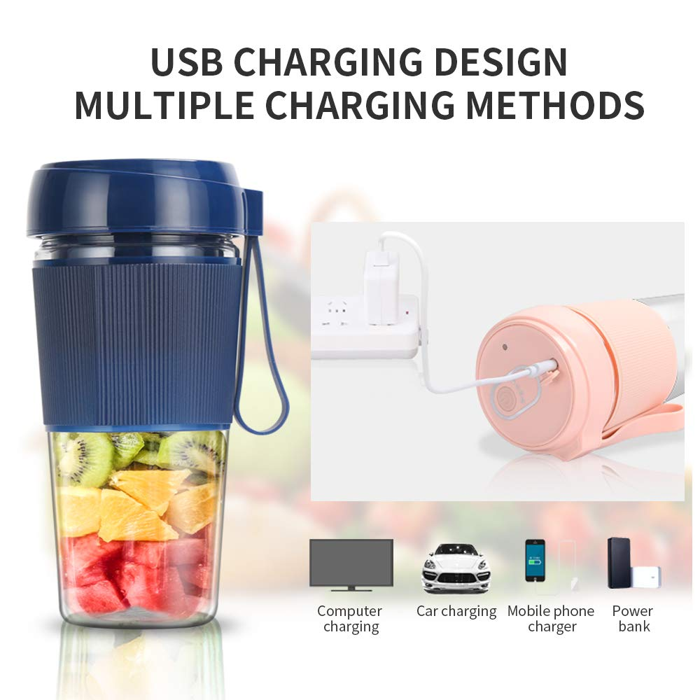 Portable Mini Fruit Juice Blender - DigitalLife Rechargeable Fruit Juice Mixer for Weaning food/Milkshake/Smoothie - Blender Cup for Home/Outdoors (300ml)