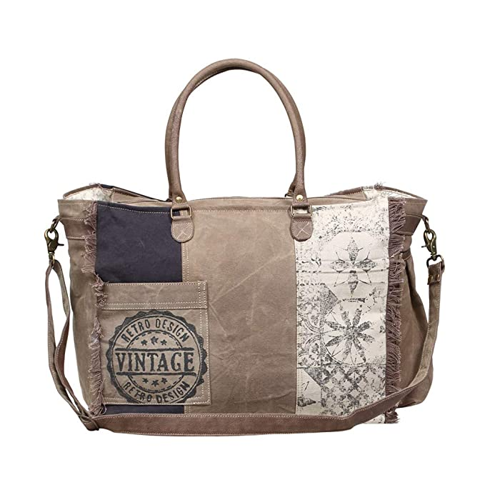 058151bfcf33 Myra Bag Retro Upcycled Canvas Weekender Bag S-1200