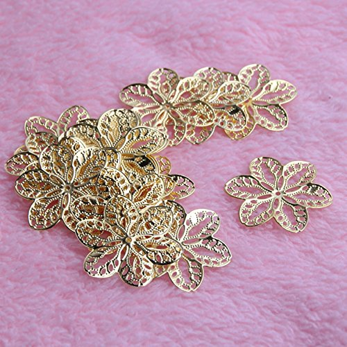 Charm Gold Filigree Flower Wraps Connectors Craft Jewelry Making Findings ()