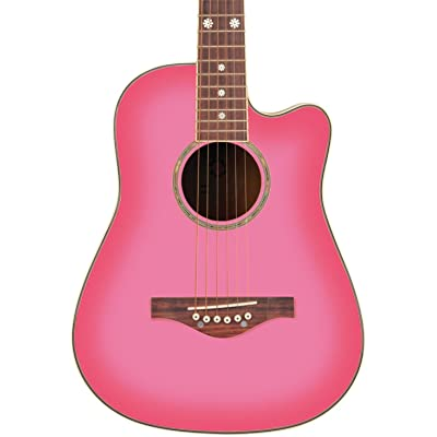 Daisy Rock Wildwood Short Scale Acoustic Guitar, Pink Burst: Musical Instruments