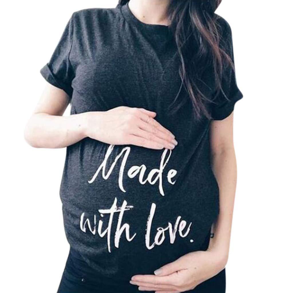 Pregnant Shirts for Women Plain,Women Short Sleeve Pregnant Maternity Nursing Letter Print T-Shirt Blouse Tops,Baby Products,Blue,L