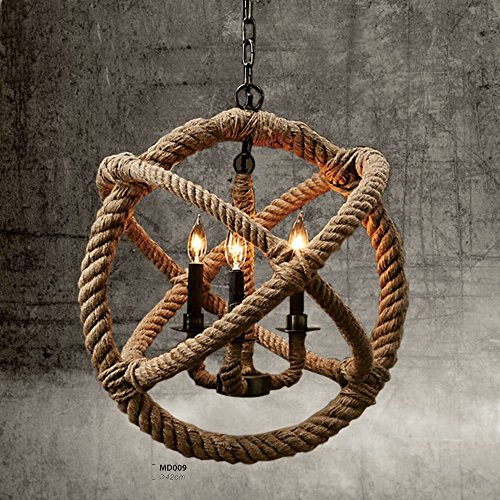 SUN-E Vintage Style 3-lights Hemp Rope Ball Chandelier Retro Country Style Hanging Island Pendant Light (Country Pendant Island Light)