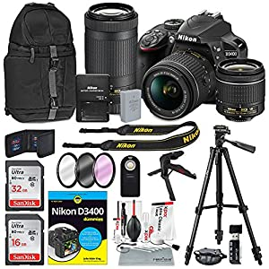 Nikon D3400 DSLR Camera with 18-55mm and 70-300mm Lenses (Black) and Deluxe Bundle with XPIX Cleaning Kit & Tripods+Filters+Backpack+ Book for Dummies and More