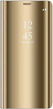 Tianyan Funda Samsung Galaxy Note 4,Inteligente Espejo Clear View Flip Cover Carcasa Plegable Soporte Funda para Samsung Galaxy Note 4,Dorado: Amazon.es: Electrónica