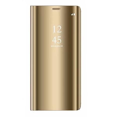 Tianyan Funda para Samsung Galaxy A6 Plus,Espejo Clear View Flip Cover Carcasa Plegable Soporte, Funda para Samsung Galaxy A6 Plus 2018,Dorado