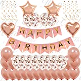 45 Piece Ultimate Rose Gold Happy Birthday Decorations | Classy Happy Birthday Confetti Balloon Banner Set For Girls and Women | Inflatable Foil Heart and Bunting Party Supplies | Includes Inflating Straw and Hanging Strings | 16th 18th 21st 25th 30th 50th 60th | By The Elegant Hen