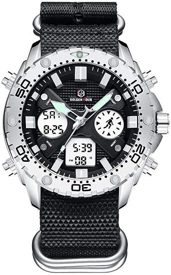 Relojes De Pulsera,Elegante Reloj Deportivo Multifunción Reloj Electrónico De Doble Movimiento, Caja Plateada: Amazon.es: Relojes