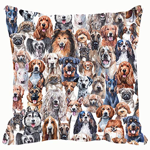 Dogs Watercolor Wildlife Animal Home Decorative Throw Pillow