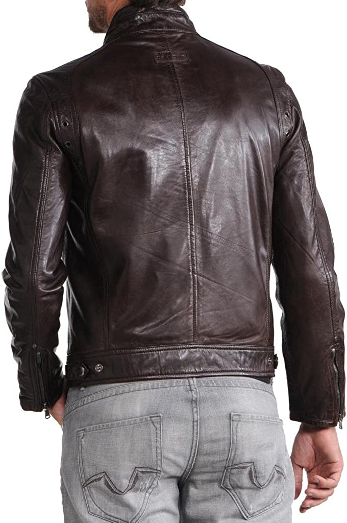 Men Moto Cow Hide Motorcycle Real Leather Jacket C184