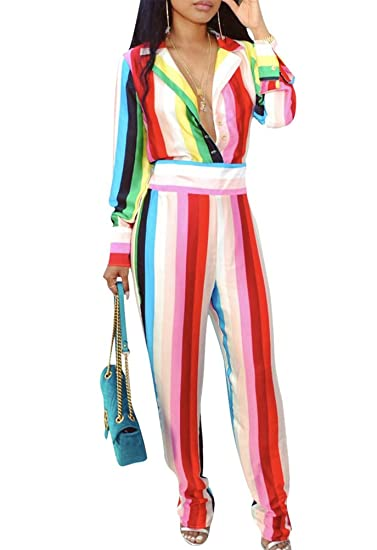 bf69abb52ad Amazon.com  Ophestin Womens Rainbow Stripe Print Lapel V Neck Buttons Loose  Fit High Waist Wide Leg Jumpsuits Rompers  Clothing
