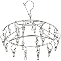 Clothes Drying Rack Stainless Steel Laundry Racks Drip Hanger with 24 Clips for Drying Clothes, Underwear, Towels, Socks