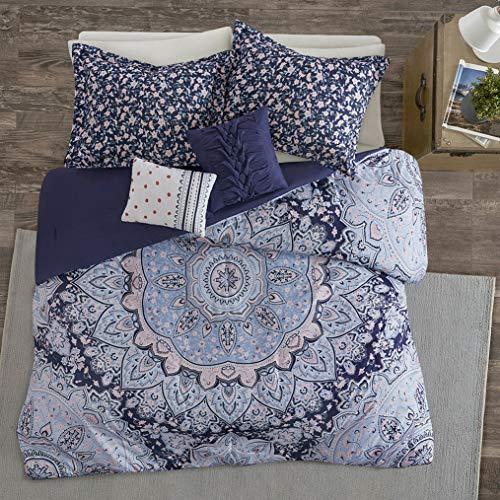 (Kaputar Cozy Chic Modern Blue Navy Pink Girl Boho Tropical Ruffle Bohemian Comforter Set | Model CMFRTRSTS - 3100 | Twin Extra Long)