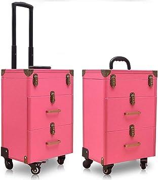 Qnlly Estuche para Trolley con Tatuajes de uñas Estuche de cosméticos Bolsas Maleta para Mujeres de Maquillaje de múltiples Capas de Gran Capacidad Beauty Luggage Box con Ruedas Rose Red,Rosered: Amazon.es: Deportes