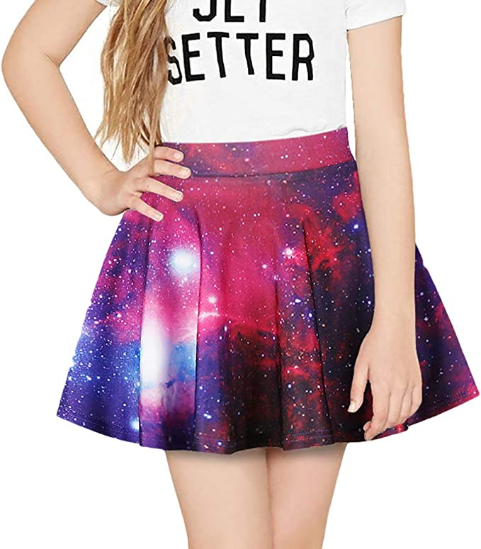 Mxssi Chicas Galaxy Estampado Flared Pliegues A-Line Skater Fiesta ...