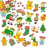 Autocollants Atelier du Père Noël en mousse que les enfants pourront utiliser pour les loisirs créatifs et décorer les cartes de Noël (Lot de 100)