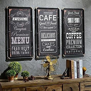 Vent/vintage industriel fer cadre/photo/mur monté/barre de bois et ...