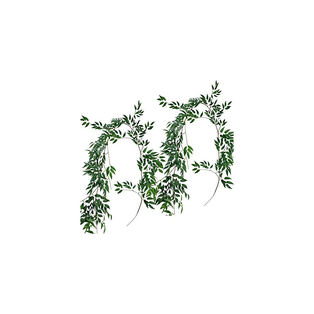 Supla-2-Pack-114-Silk-Hanging-Willow-Jungle-Leaves-Greenery-Vines-Garland-Fake-Willow-Twigs-String-in-Green-for-Indoor-Outdoor-Wedding-Decor-Jungle-Party-Crowns-Wreath