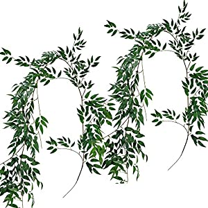 Supla 2 Pack 11.4' Silk Hanging Willow Jungle Leaves Greenery Vines Garland Fake Willow Twigs String in Green for Indoor Outdoor Wedding Decor Jungle Party Crowns Wreath 15