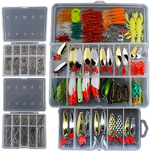 Smartonly1 Set 226Pcs Fishing Lure Tackle Kit Bionic Bass Trout Salmon Pike Fishing Lure Frog Minnow Popper Pencil Crank Soft Hard Bait Fishing Lure Metal Spoon Jig Lure with Fishing Tackle Box - Trout Fishing Gear
