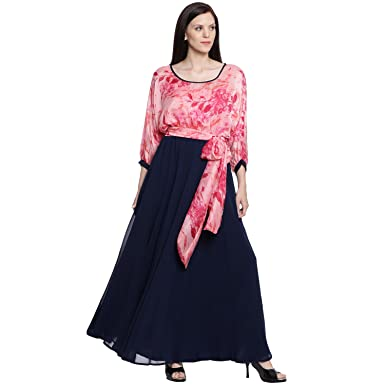 7c64b7c543 Just Wow Women Pink and Navy Blue Printed Maxi Dress  Amazon.in  Clothing    Accessories