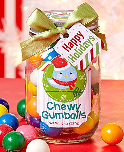 Mason Jar Filled Chewy Gumballs Candy 8 Oz Jar Glass | Wonderfully Delicious Traditional Gumballs Individually Wrapped | Tied with a Ribbon & Gift Tag | Christmas Holiday Gift Set Stocking Stuffer.