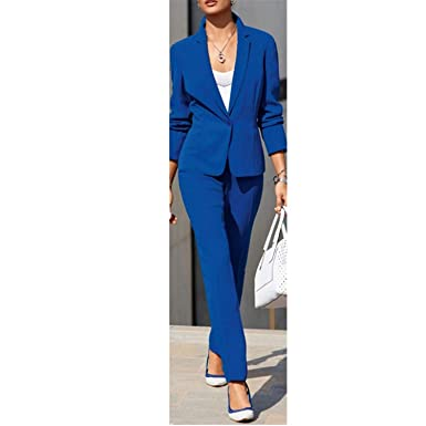 2ec77979007df Amazon.com: Women Pant Suits Formal Bussiness Gray 2 Piece Set ...